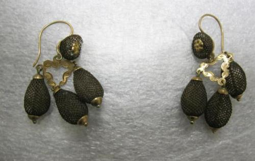 Earrings made of hair in the North Carolina Museum of History