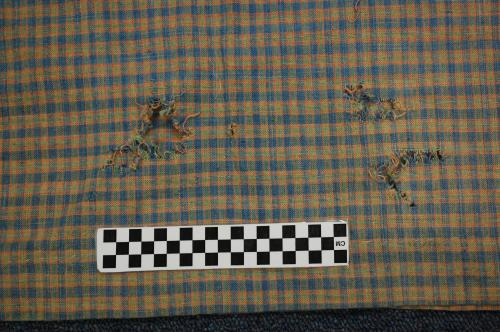 Plaid dress, detail. Collections of NC State Historic Sites.
