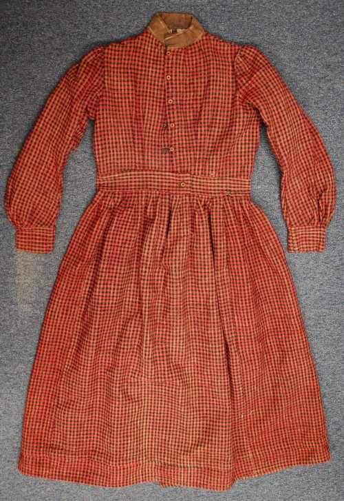 Woven Red and Black Plaid Dress, collections of North Carolina State Historic Sites, Accession Number S.HS.2013.4.2