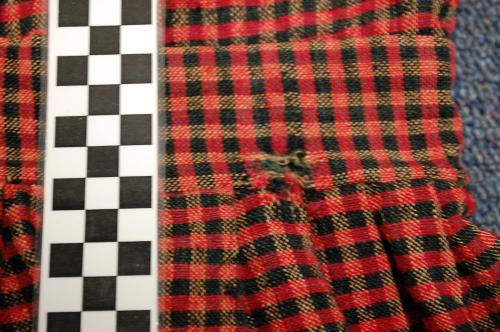 Waistband detail, woven Red and Black Plaid Dress, collections of North Carolina State Historic Sites, Accession Number S.HS.2013.4.2