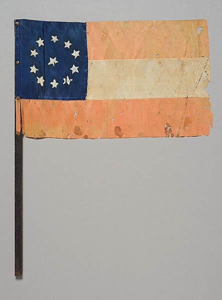 Small First National Confederate Flag, used as bookmark.  North Carolina Museum of History accession number 1979.157.1