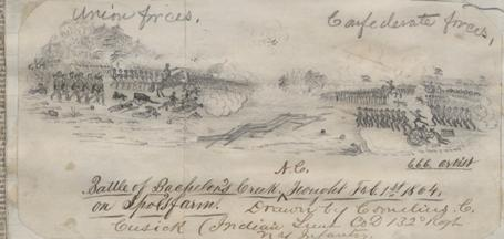 """Battle of Bachelor's Creek NC. Fought Feb. 1st 1864. On Spot's Farm. Drawn by Cornelius C. Cusick (Indian Lieut Co. D 132d Regt. NY Infantry). Collections of East Carolina University"