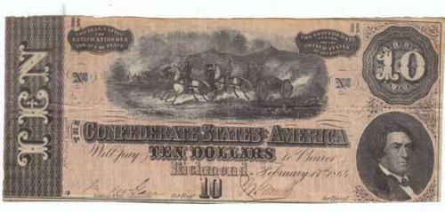 Confederate Ten Dollar Bill. Collections of North Carolina State Historic Sites, Accession Number 2008.60.6.