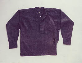 Shirt worn by John Burgwyn MacRae at the Battle of Bentonville (1865). North Carolina Museum of History, accession number 1917.42.1