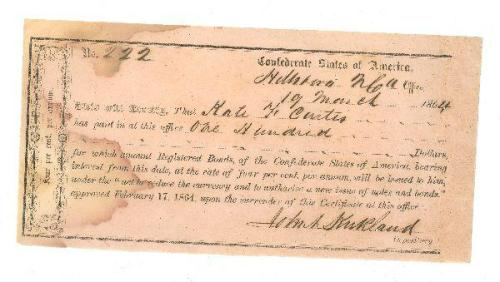 Confederate Bond. Collections of North Carolina State Historic Sites, Accession number S.HS.2008.6.6