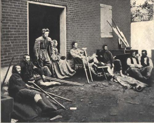 Wounded Soldiers and nurse near Fredericksburg.  Collections of the NC Museum of History