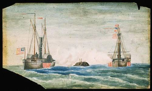 Drawing of river battle between the CSS Albemarle and the USS Miami and USS Southfield.  Drawn by witness. Collections of the NC Museum of History, accession number 19xx.128.2