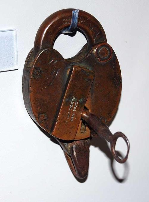 Lock recovered from wreck off Fort Fisher. NC State Historic Sites, Accession number S.1965.56.1