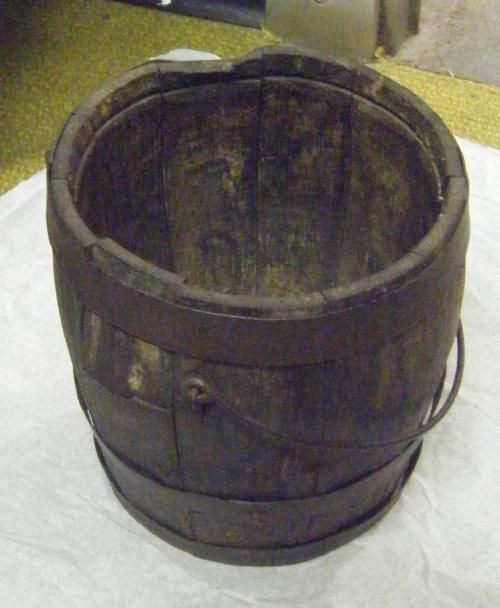 Oak bucket from wreck of CSS Neuse. Collections of North Carolina State Historic Sites. Accession number S.1975.45.235