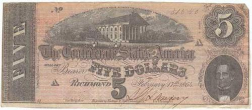 1864 Five Dollar Bill, Collections of North Carolina State Historic Sites, Accession Number  2008.60.3.