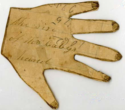 Tracing of a newborn's hand for her soldier father, June 1864. Poteet-Dickson Letters, North Carolina State Archives.