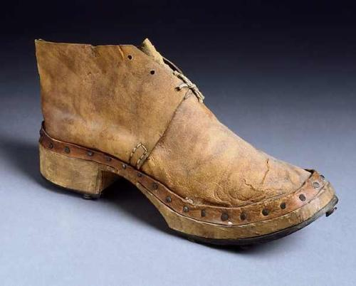 Leather upper and wooden sole. NC Museum of History, Accession number H.1914.107.1