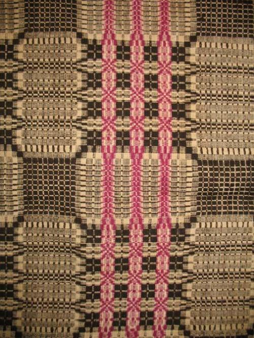 Woven overshot coverlet detail, Wake County, NC. North Carolina Museum of History, Accession Number 2010.85.1