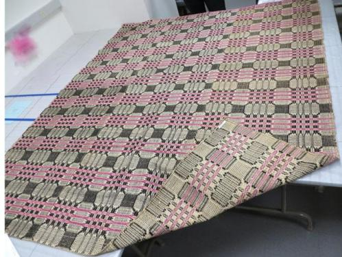 Woven overshot coverlet, Wake County, NC. North Carolina Museum of History, Accession Number 2010.85.1