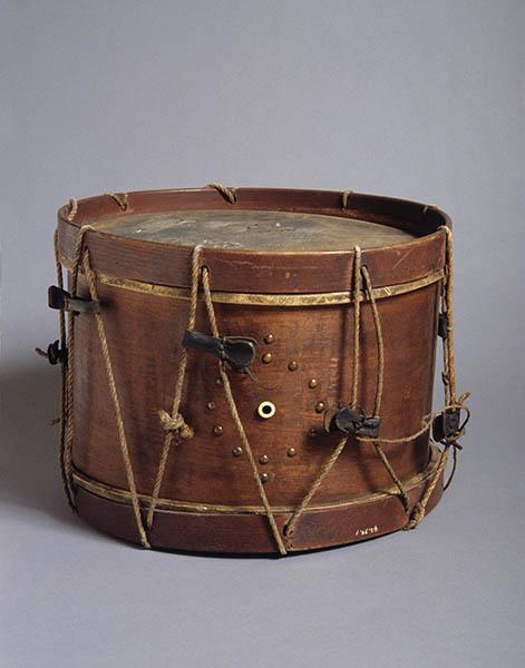 This drum was brought to Henderson at the end of the Civil War by a wounded soldier and features a circular decoration on one side made with tacks.   North Carolina Museum of History, Accession Number 1942.39.1