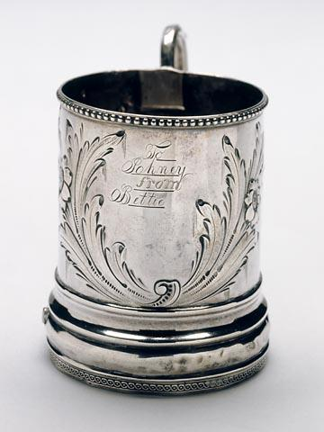 Inscription detail.  Silver cup given to John Lawson Wrenn by his sister Bettie.  Source: North Carolina Museum of History, Accession Number 1933.4.1