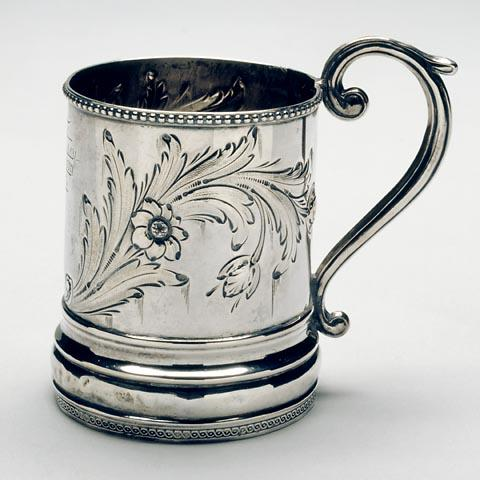 Silver cup given to John Lawson Wrenn by his sister Bettie.  Source: North Carolina Museum of History, Accession Number 1933.4.1