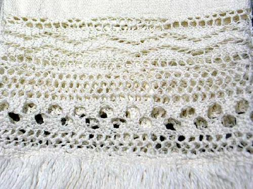 Lace detail, hand towel made by Adeline Loftin of Denton, NC in 1863. NC Museum of History.