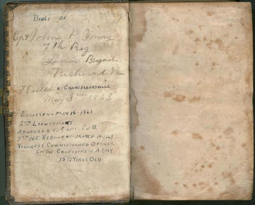 Inside. Bible of Capt. John P. Young, 7th Regiment, killed at Chancellorsville. North Carolina Museum of History, 1960.32.109