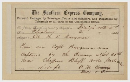 Telegram sent to Raleigh from Petersburg.  North Carolina State Archives, WHS Burgwyn Papers.