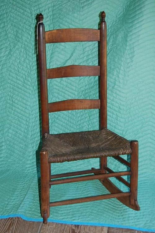 Ladderback Rocking Chair with Woven Seat. North Carolina State Historic Sites.